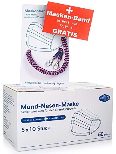 Einmalmasken Mundschutz Set aus 50 Labor geprüften blauen Masken inkl. Maskenband von ONE HUNDRED AID