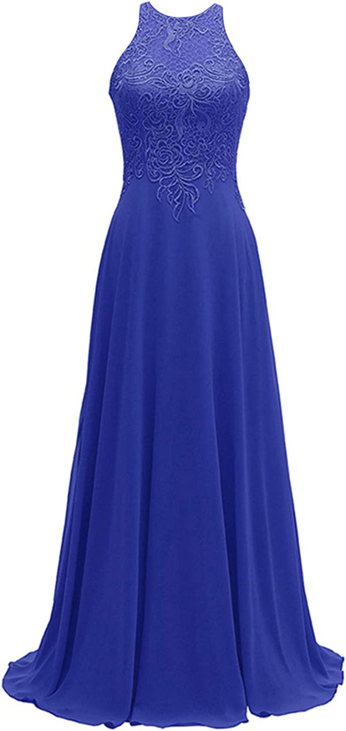 Women's Halter Bridesmaid Dresses Chiffon Long A-Line Lace Formal Wedding Party Gowns 2019 Royal Blue Size 8