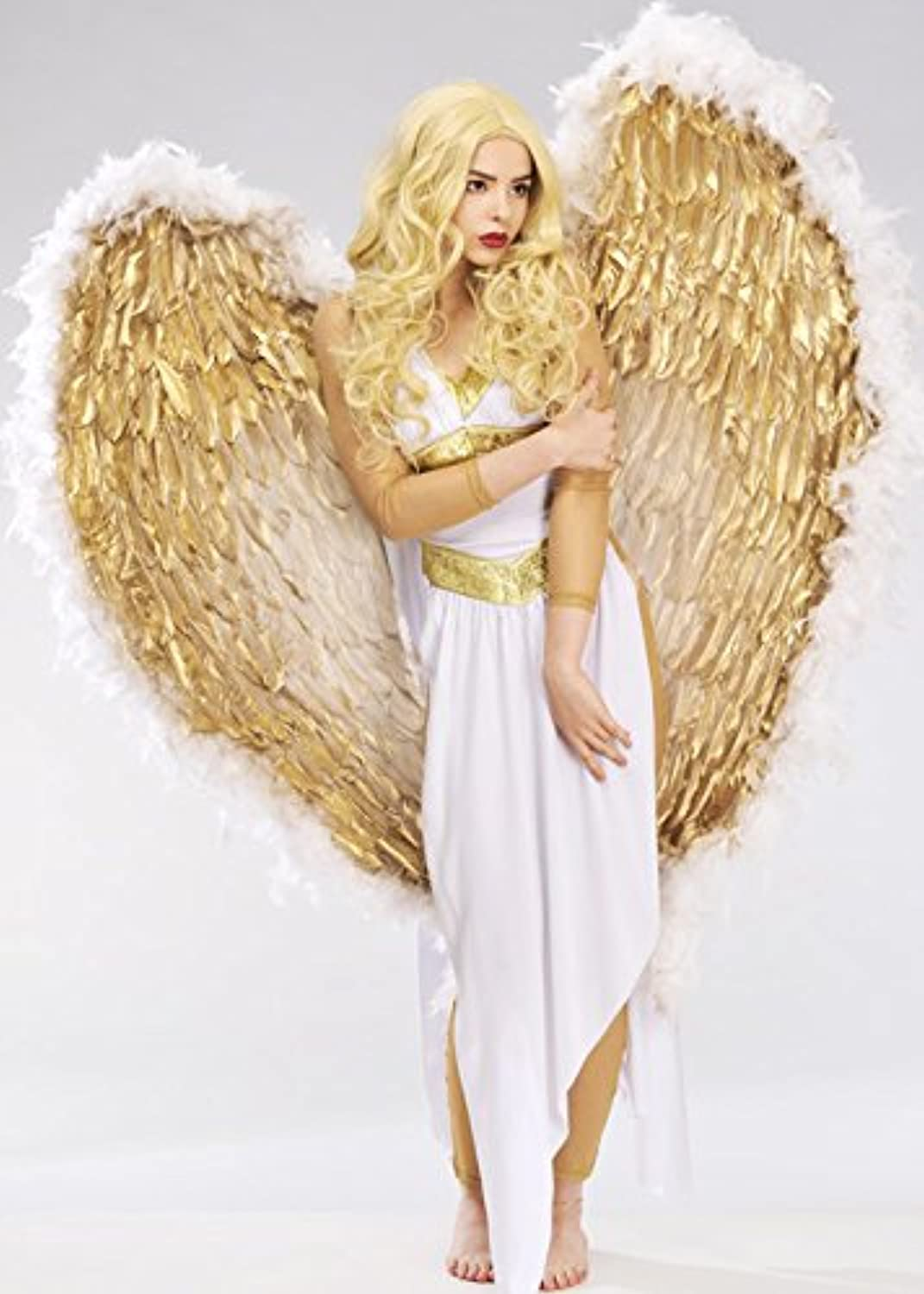 MagicBox Deluxe Extra Large White and gold Feather Angel Wings