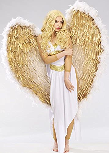 Deluxe Extra Large Weiß und Gold Feder Angel Wings