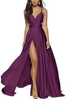 RJOAM High Split Women's Prom Dresses Long Open Back Waist Cut-Off Spandex Satin Evening Gowns Party Dresses with Pockets