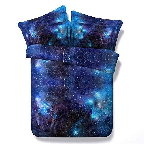 DC Wesley Duvet Set 3 Piece Set 3D Space Space Print Design Quilt Comfort Bedding Set Quilt Cover X1 And Pillowcase X2 (240 * 225cm, Blue Starry Sky) (Size : 200 * 220cm)
