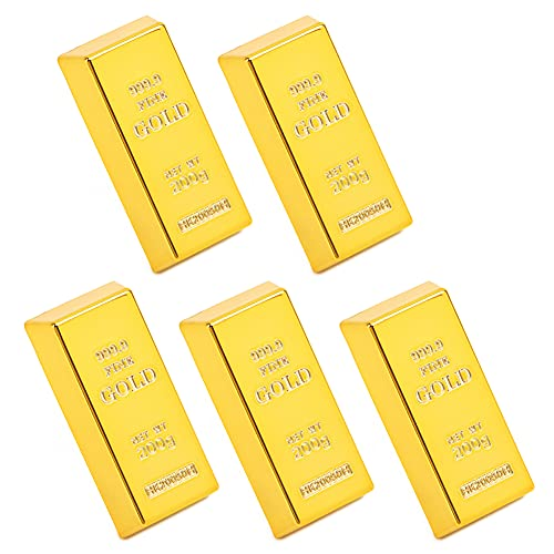 Türstopper Goldbarren, 5 Stück Gefälschte Goldbarren, Gefälschte Goldene Backstein, Golden Wedge Safe Türstopper für Zuhause Büro Dekoration