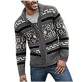 NHNKB Chaqueta de punto para hombre, chaqueta de invierno con cremallera completa, cuello alto, forro polar cálido, gris, XXL