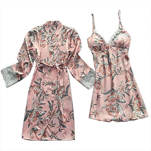 Fenverk Damen 2Stück Dessous Die Seide Spitze Robe Kleid Puppe Nachthemd Nachtwäsche Kimono Einstellen Sexy Sling Nachthemd Nachtwäsche Seide Spitze Kleid Babydoll Nachthemd(2PC + Gürtel Rosa,M)