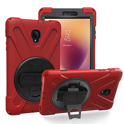 KIQ Galaxy Tab A A2 S Case (2017) T380/T385, Heavy Duty Durable Rugged Case with Screen Protector Stand, Strap for Samsung Galaxy Tab A A2s 2017 SM-T380 (Red)