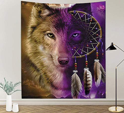 Dreamcatcher Wolf Tapestry Wall Hanging Printed Tapestries Mural for Bedroom Living Room Dorm Home Decoration
