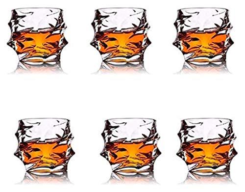 WHZG 4pcs Whiskey Glasses Set Ultra Clarity Whisky Tumblers plomo con cócteles, Scotch, Vodka Libre de vidrio antiguo 330ml, 6pcs 712 (Size : 6PCS)