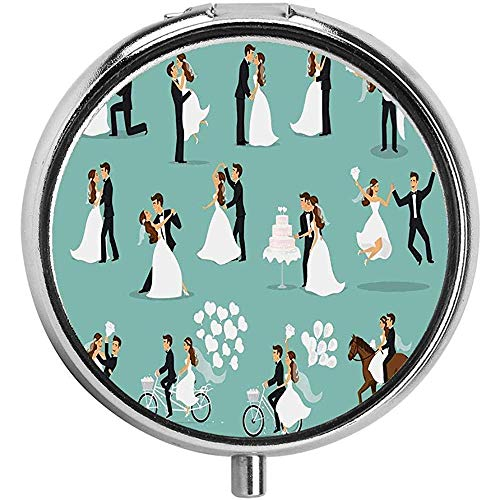 Nieuwgehuwde koppels dansen zoenen knuffelen snijden taart en rijden paard pil doos/case - 3 -compartiment pil doos/pil case