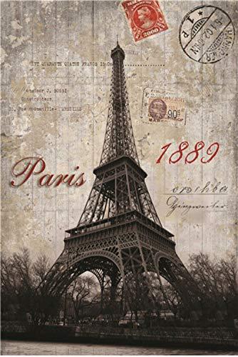 JJIEZZ 1000 Piezas de Rompecabezas de Juguetes educativos Puzzle Rompecabezas 1000 Piezas Paisaje de Madera Imagen Time Square Paisaje Rompecabezas-Torre Eiffel
