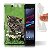 Stuff4 Gel TPU Hülle/Case für Sony Xperia Z Ultra/Inländisches Kätzchen/Blumen Muster Katze/Katzenrassen Kollektion