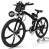 Angotrade 26 inch Folding Electric Bike Mountain E-Bike 21 Speed 36V 8A Lithium Battery Electric Bicycle for Adult Teen (Black)