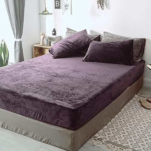 HAIBA Sábana bajera ajustable lisa térmica cálida suave cama de lujo cuatro esquinas con cinturón elástico funda de colchón, morado, 180 x 200 + 25 cm