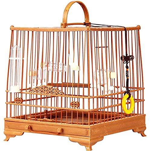 Gabbie per uccelli decorative Gabbia per uccelli in acciaio in plastica con supporto per il rotolamento, gabbia di volo da uccello quadrato con vassoio staccabile, gabbia per uccelli per piccoli ucce