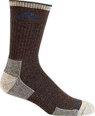 Darn Tough 1466 Men's Merino Wool Micro Crew Cushion Socks, Chocolate, Large (10-12)