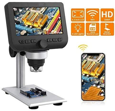 JFENGHUAUNG 4.3 Pulgadas LCD microscopios, 1080P HD inalámbrico Digital 600X de ampliación de 32 GB para los niños y Edu Lab