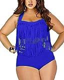 Hippolo Femmes Grande Taille Bikini Maillot De Bain Tassel Padded 2 Pièces Bathing Suit (X-Large, Saphir Bleu)