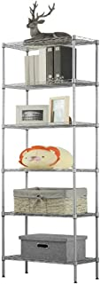LANGRIA 6 Tier Wire Shelving Unit Organization and Storage Rack with 5 Hooks,Silver (Renewed)