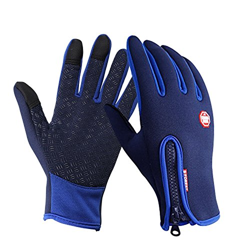 Speedrid Radfahren Handschuhe, Touchscreen Outdoor Sport Winter Bike Handschuhe, Wasserdicht Ajustable Größe Vollfinger Für Laufen Fahren Skifahren Skating Klettern (Blau, Groß)