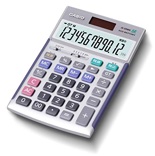カシオ 本格実務電卓 12桁 検算機能 グリーン購入法適合 ジャストタイプ シルバー JS-20WK-N