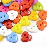 Charming Beads Pacco 50+ Misto Acrilico 12mm Bottoni Cuore (2 Fori) - (HA07215)