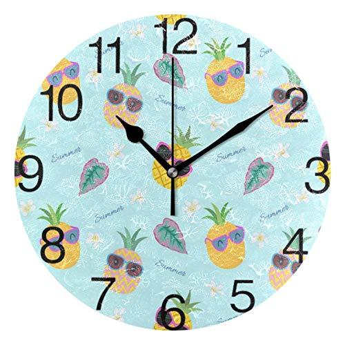 Reloj de pared redondo con diseño de piña con gafas de sol, silencioso, pintura al óleo, decoración para casa, oficina, escuela, reloj de arte
