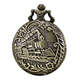 Morfong Reloj de bolsillo de cuarzo para hombres y mujeres con cadena, color bronce