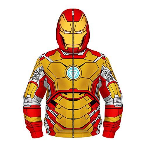 Felpa con Cappuccio con Zip Full Bambini Deadpool 3D Stampato Felpa con Cappuccio Hooded Tracksuit Halloween Casual Giacca Mascherata Giacca Novità Regalo Compleanno, Iron Man 01-Small(115cm~125cm)