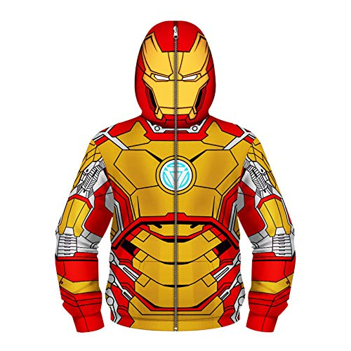 MODRYER Unisex Boys Girls Hoodie Todas Las Sudaderas sobre Cremallera Superante Superhero Fresco 3D Estampado de Impresión Modelo Pulseras Enmascaradas,Iron Man 02-Xsmall(105cm~115cm)
