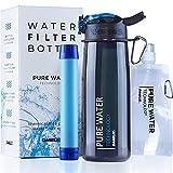 Daabliz - Botella filtrante de viaje: filtro de agua portátil – Purifica el agua elimina el 99,9% de las baterías – Tapón OneTouch – Kit de supervivencia para senderismo, camping, bicicleta o gimnasio