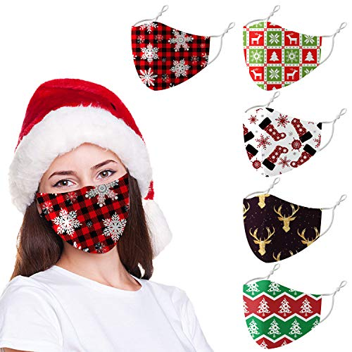 Christmas Adults Reusable Face Cloth Bandanas Mask,Funny Adjustable Ugly Snowflake Elk Pattern Breathable Face Covering (Style-3)