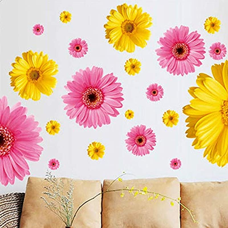 Sorthia 2 Sheets 3D Sunflower Wall Decals Yellow Pink Daisy 24 Flowers Wall Stickers Peel And Stick Removable Wall Art Home Decor Kids Nursery Stickers Yellow And Pink