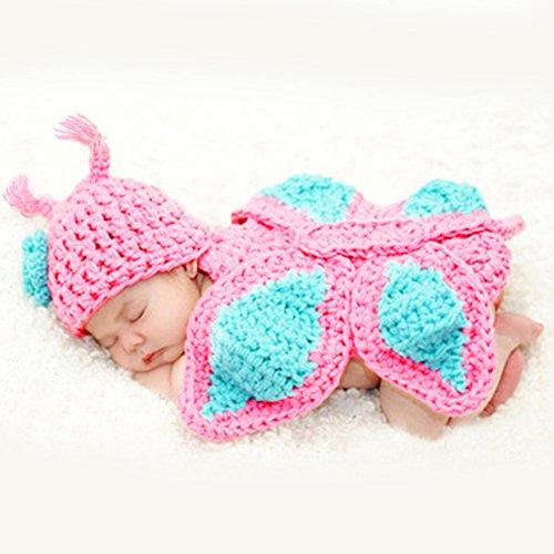 HAPPY ELEMENTS Infantile Costume lavorato a Maglia Crochet Della Farfalla Abbigliamento Adorabile Morbido Foto Props Fotografia