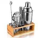 Cocktail Shaker Set Bartender Kit, NICEAO 14-Piece Bar Kit, 25oz Martini Shaker, Mixing Spoon, Double Jigger, Liquor Pourers, Muddler, Strainer and Ice Tongs, Professional Bar Set Tools