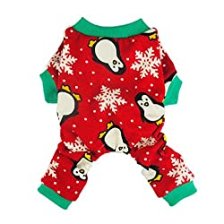 Dog Christmas Pajamas red with penguins and snowflakes