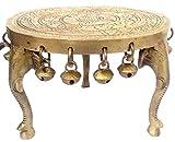 PARIJAT HANDICRAFT Brass Platform Chowki with Elephant Legs: Round Plinth for Statue, Idol, Vase or Artifacts