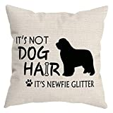 HUYAW It's Not Dog Hair It's Newfie Glitter Throw Pillow Cover, Newfie Lover Gifts for Dog Mom Dad, Newfie Pillow case 18 x 18 Inch Home Room Bed Sofa Decor