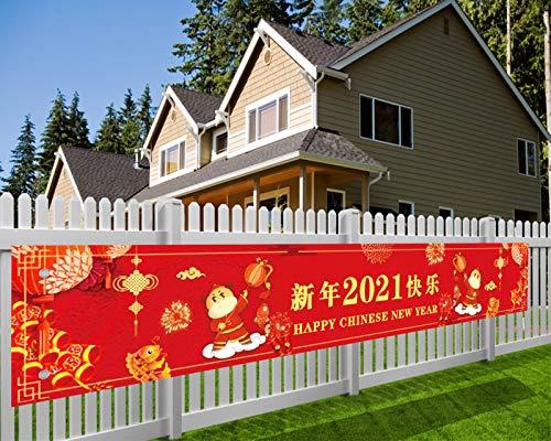 Longue Nouvel an Chinois Bannière en Tissu Rouge Nouvel an Chinois Décoration, 2021 Bœuf Nouvel an Chinois Deco Intérieure et Extérieure Fête du Printemps Décoration, 70,8 * 11,8 Pouces, avec Ficelle