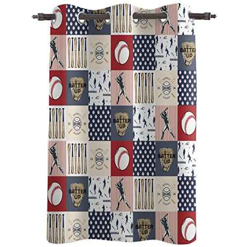 Chic D Window Curtains Drapes Panels, 96 Inch Long, Window Treatments for Bedroom Kitchen Living Room, Baseball Sport,52' Wide Grommet Thermal Insulated Darkening Curtain, Red Navy Blue