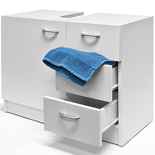 Deuba Waschbeckenunterschrank Waschtischunterschrank Unterschrank Badschrank 3 Schubladen weiß