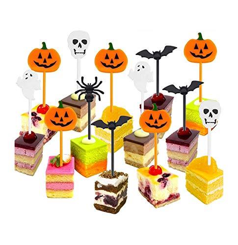 kungfu Mall 100 Stück Halloween-Cupcake-Topper Kuchen Obst Topper Dekoration Picks mit Geist Kürbis Laterne Skelette für Kinder Halloween Mottoparty
