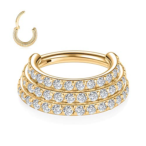 FUNLMO 16G Septum Jewelry Nose Rings Gold Septum Rings Septum Clicker 10mm Nose Septum Hoop Surgical Steel Cartilage Helix Daith Conch Earrings Triple Stacked CZ Paved