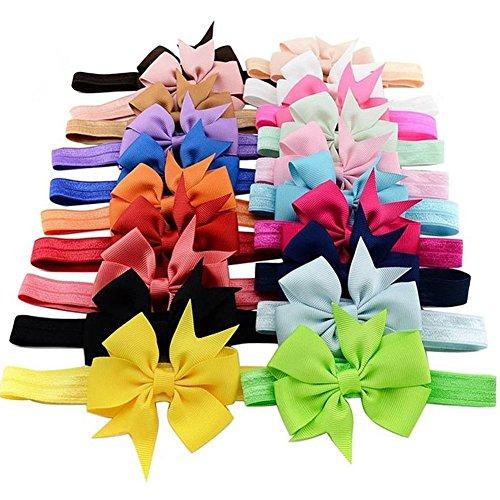 lansue Bandas 6pcs de los bebés del Bowknot vendas de la flor suave pelo elástico de colores aleatorios para