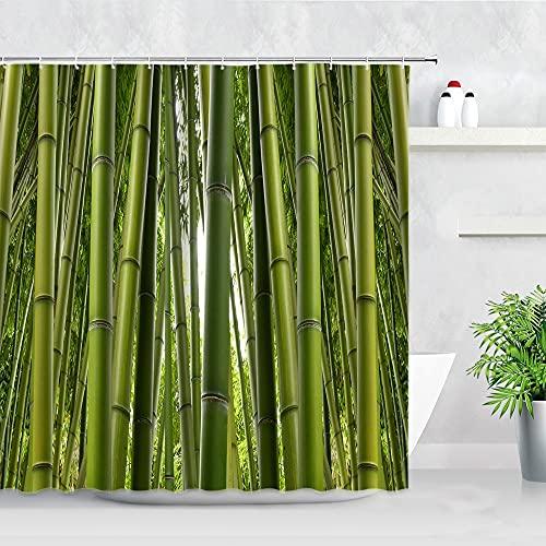 Tende da doccia in bambù verde Pietra nera Candela bianca Paesaggio da giardino Zen Decorazioni per la casa Bagno Tenda da bagno S.9 150x180cm