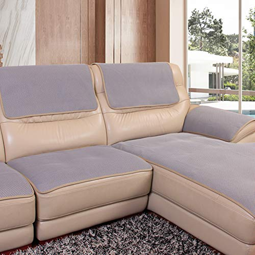 YEARLY Red Antideslizante Funda para sofá, Agujero de Nido de Abeja Piel Funda de sofá Cubrecanapé Four Seasons Tela Nordic Moderno Muebles Protectores Toalla de sofá-Gris 60x76cm(24x30inch)