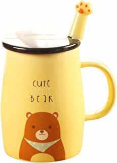 Angelice Home Cute Bear Mug Funny Ceramic Coffee Mug with Stainless Steel Spoon for Bear Lovers Coffee Lovers