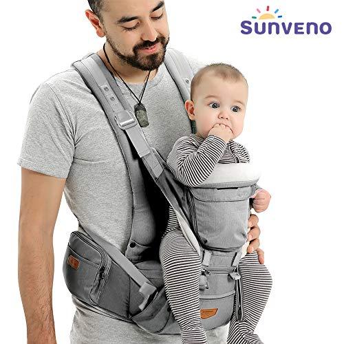 Portabebés Ergonómico con Asiento - SUNVENO Portador de Bebé 3 en 1 Multifuncional, Portabebé Gris para Recien Nacido para Cuatro Estaciones Universales, 0-20 kg, 0-36 Meses