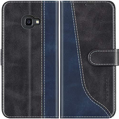 Mulbess Handyhülle für Samsung Galaxy XCover 4s Hülle Leder, Samsung Galaxy XCover 4s Handy Hülle, Modisch Flip Handytasche Schutzhülle für Samsung Galaxy XCover 4 / 4s, Schwarz