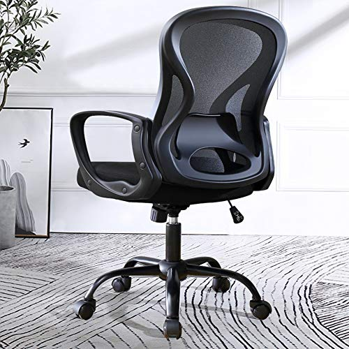 US Stock Ergonomic Office Desk Chair, Mid Back Mesh Chair, Computer Chair with Lumbar Support, Conference Room Chair, Swivel Chair with Wheels, Home Rolling Chair(Black)