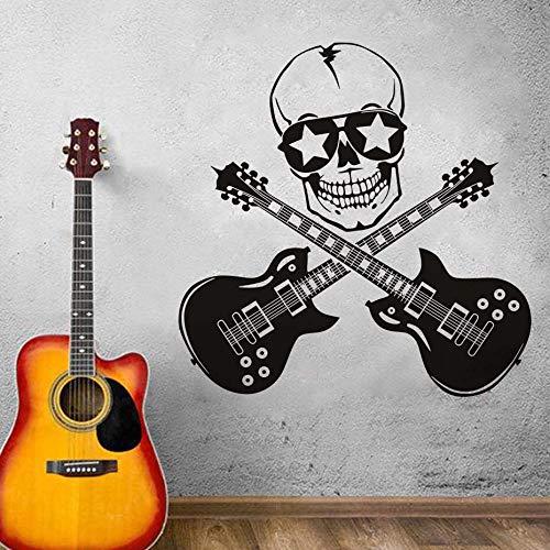 YuanMinglu Coole kreative Design spaß wandaufkleber schädel und Gitarre Vinyl Kunst Schlafzimmer Dekoration wandmalerei Gitarre Rock Silhouette Aufkleber 70,8X70,8 cm